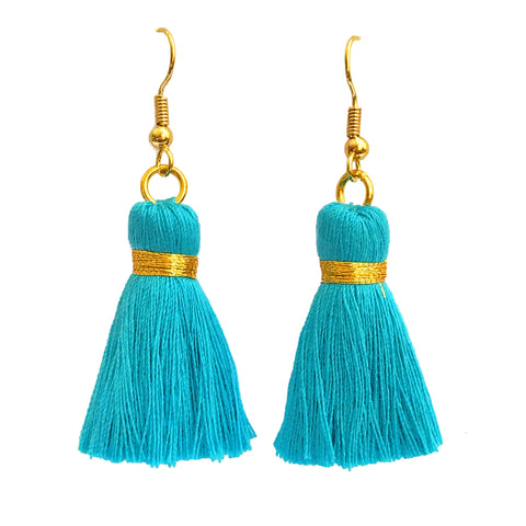 Simple Hook & Tassel Earrings - Turquoise