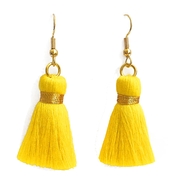 Simple Hook & Tassel Earrings - Yellow