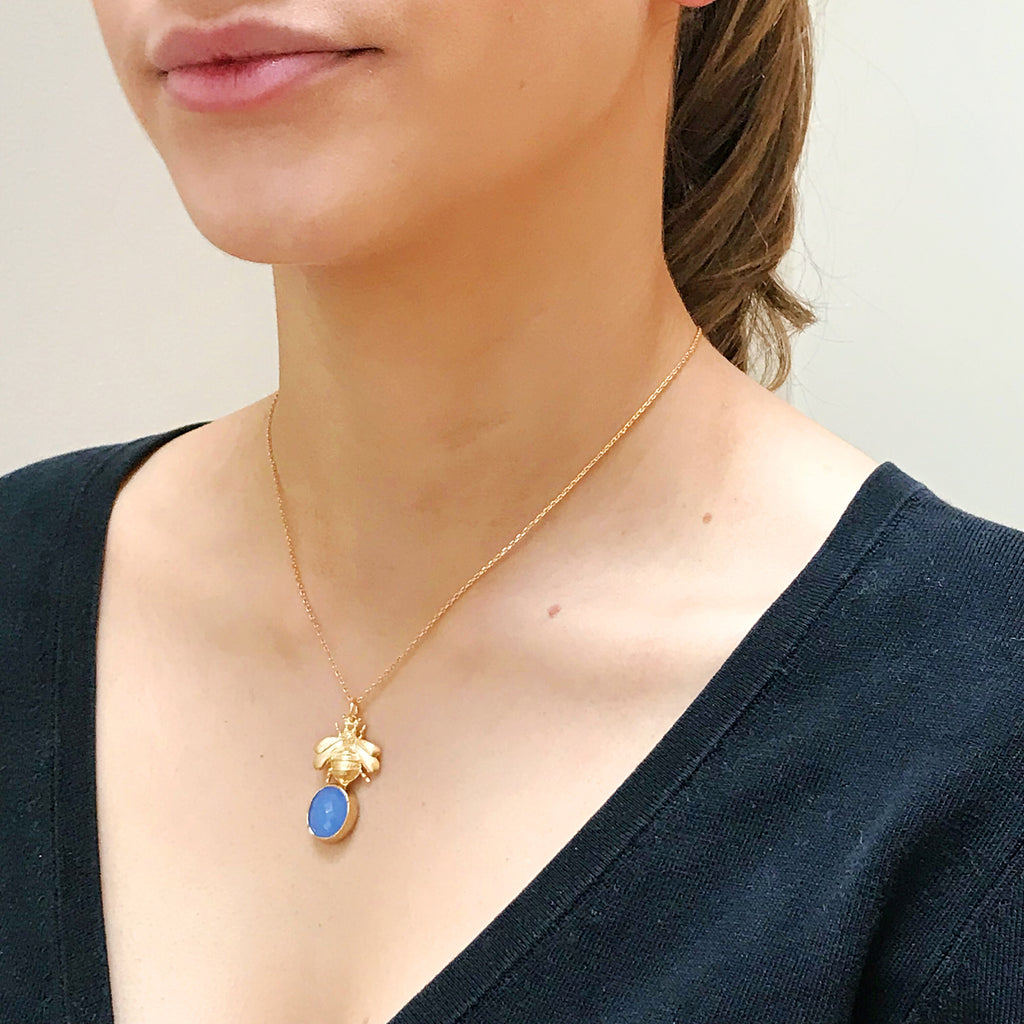 The 'Queen Bee' & Glass Pendant Necklace - Ice Blue