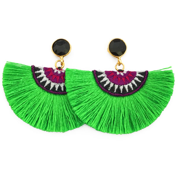 Fan Tassel Earrings - Kelly Green