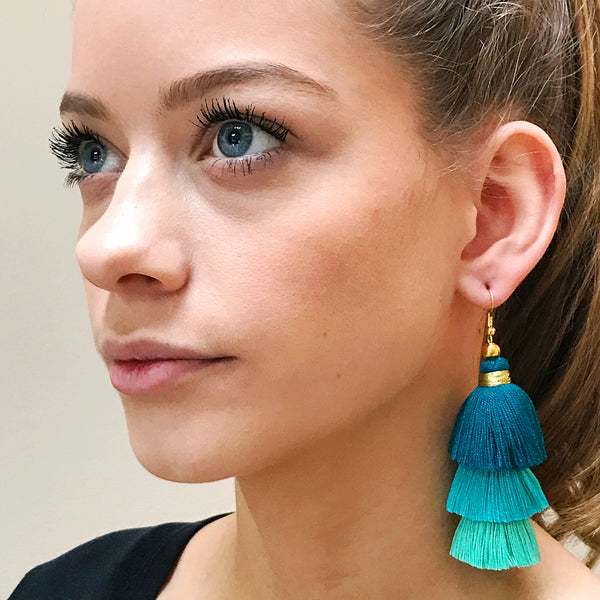 Multi-Turquoise Layered Tassel Earrings