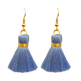 Simple Hook & Tassel Earrings - Light Blue