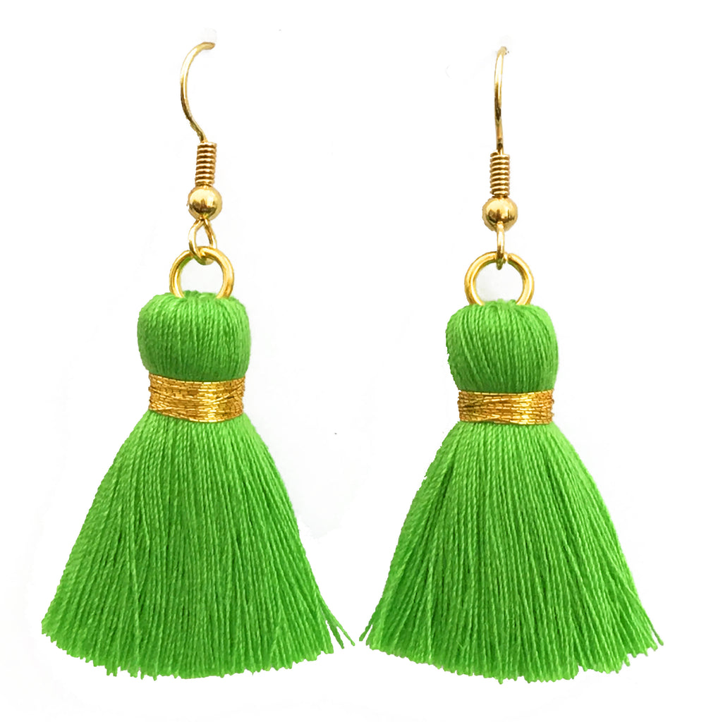 Simple Hook & Tassel Earrings - Light Green