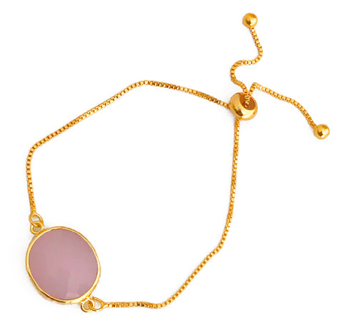 Light Pink Glass Pendant & Adjustable Gold Bracelet