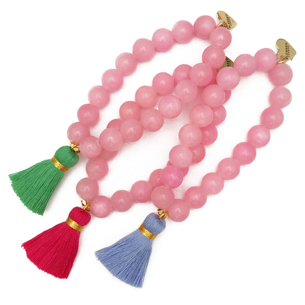 Light Pink Jade Bracelet - Choose a Tassel Colour