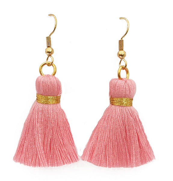 Simple Hook & Tassel Earrings - Light Pink