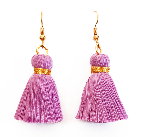 Simple Hook & Tassel Earrings - Light Purple