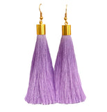 Long Silk Tassel Earrings - Light Purple