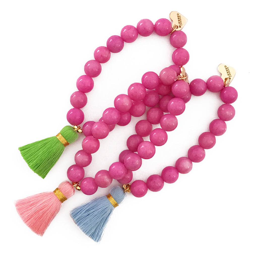 Bright Pink Jade Bracelet - Choose a Tassel Colour