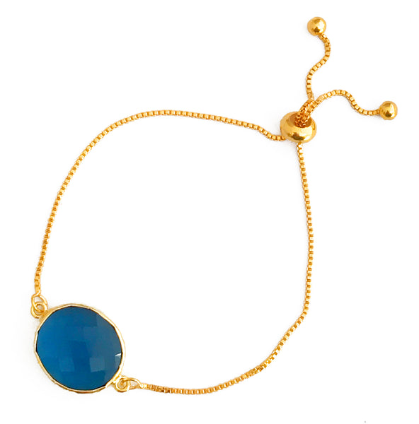 Midnight Blue Glass Pendant & Adjustable Gold Bracelet