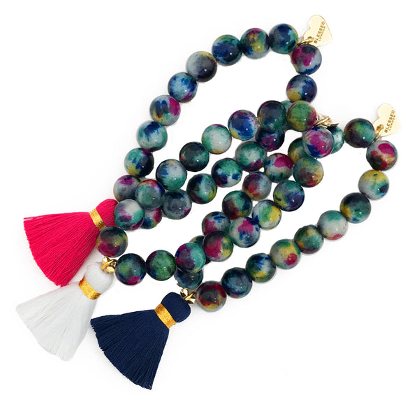 Mixed Navy/Pink Jade Bracelet - Choose a Tassel Colour