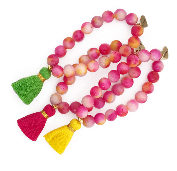 Mixed Pink Jade Bracelet - Choose a Tassel Colour