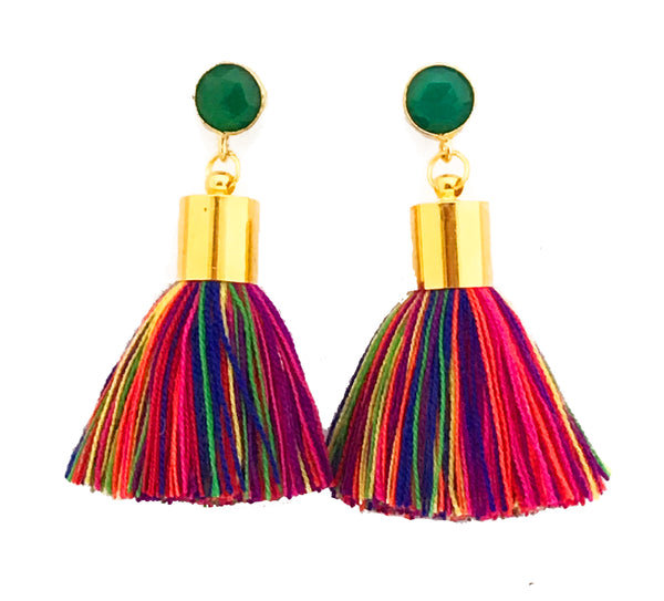 Short Tassel Earrings - Multi Colour