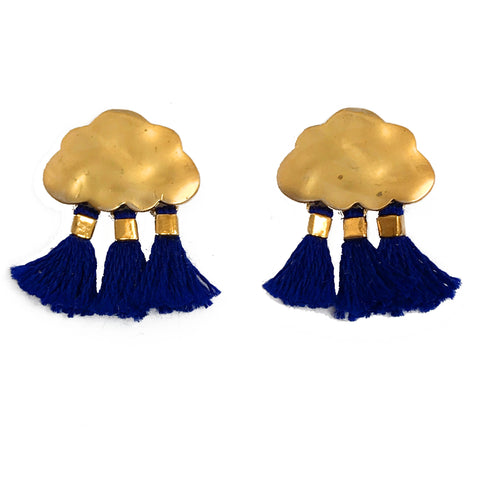 'Every Cloud Has A Tassel Lining' Earrings - Navy Blue