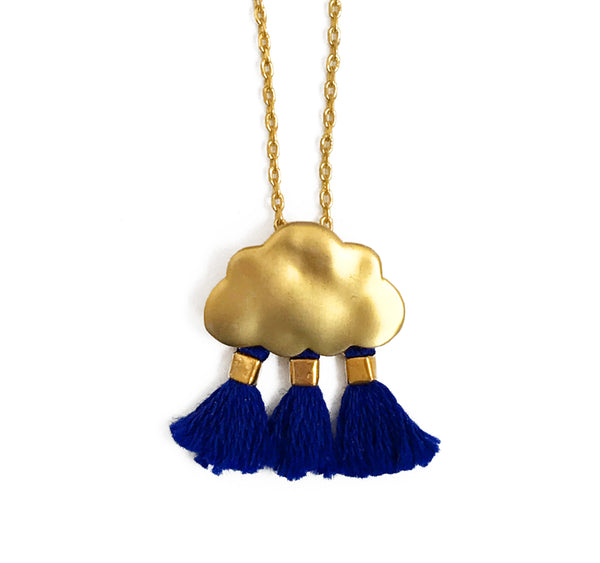 'Every Cloud Has A Tassel Lining' Necklace - Navy Blue