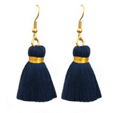 Simple Gold Hook & Tassel Earrings - Navy Blue