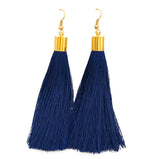 Long Silk Tassel Earrings - Navy Blue