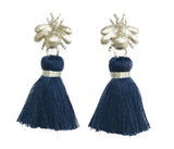 The 'Queen Bee' Tassel Earrings - Silver/Navy Blue