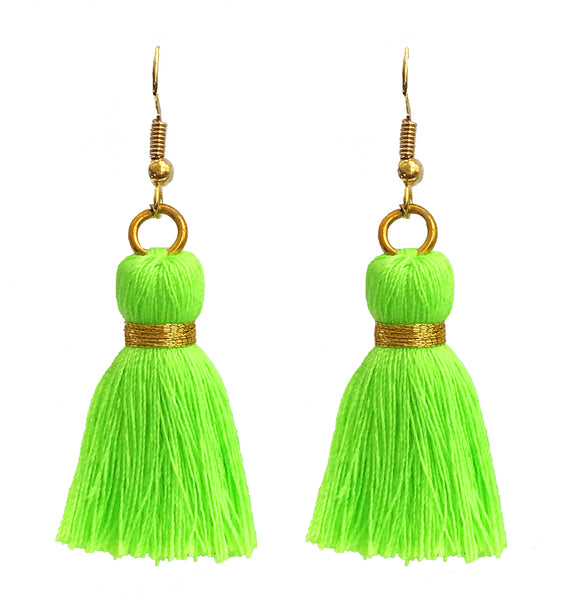 Simple Hook & Tassel Earrings - Neon Green