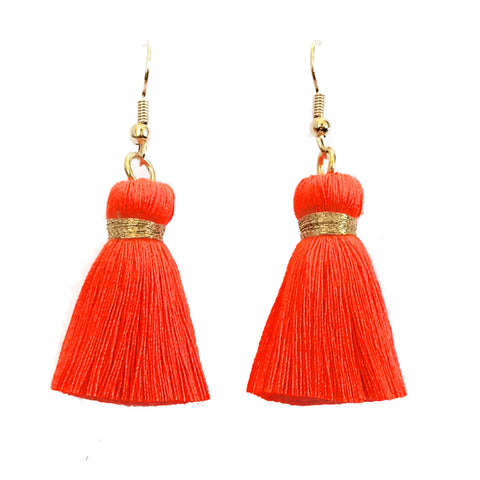 Simple Hook & Tassel Earrings - Neon Orange