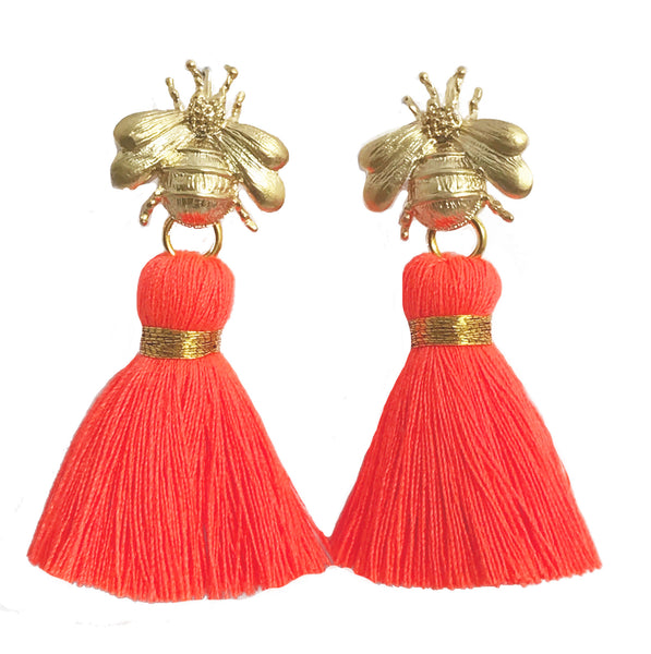 The 'Queen Bee' Tassel Earrings - Neon Orange