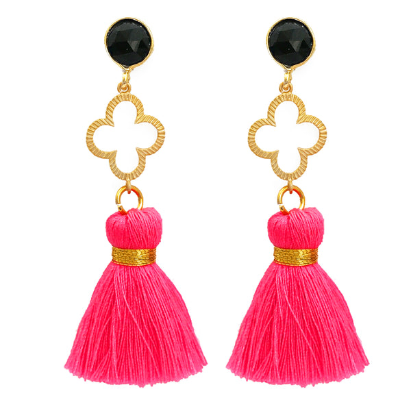 The 'Good Luck Clover' with Tassel Earrings - Black/Neon Pink
