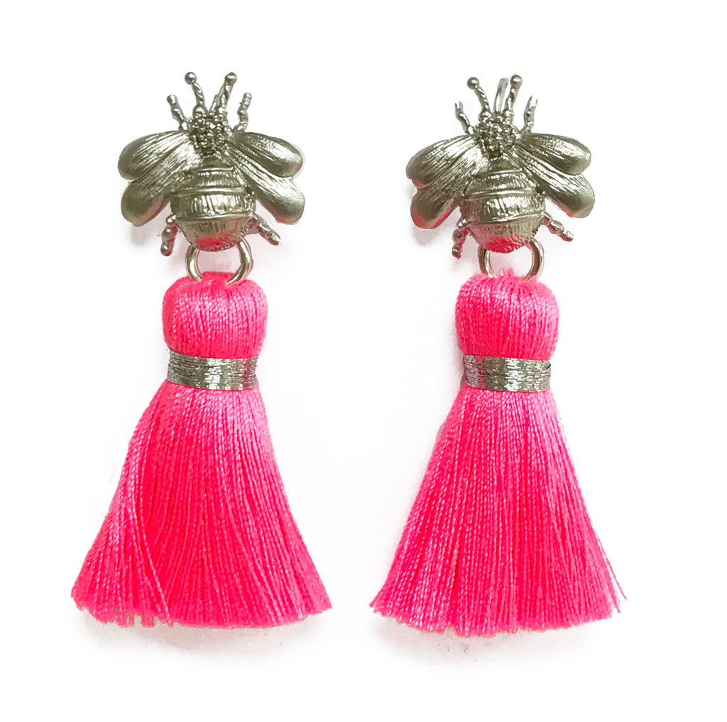 tassel gold neon amp the queen earrings blessed london image pink bee jewellery
