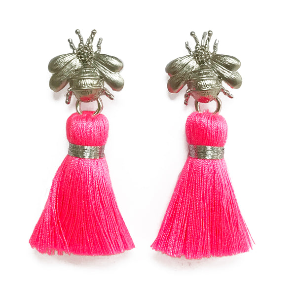 The 'Queen Bee' Tassel Earrings - Silver/Neon Pink