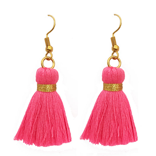Simple Gold Hook & Tassel Earrings - Neon Pink