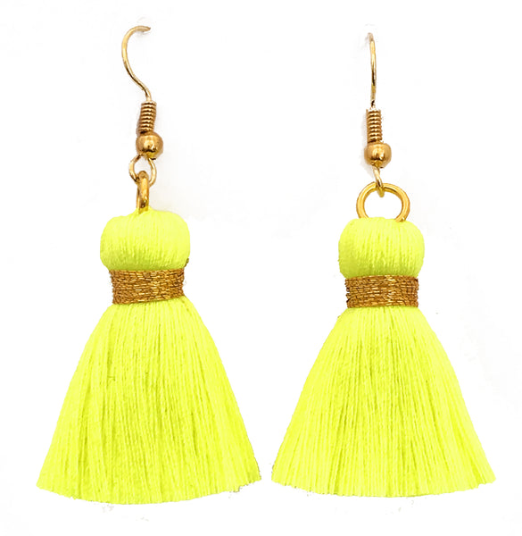 Simple Hook & Tassel Earrings - Neon Yellow