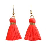 Simple Hook & Tassel Earrings - Neon Coral