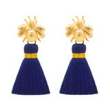 The 'Queen Bee' Tassel Earrings - Navy Blue