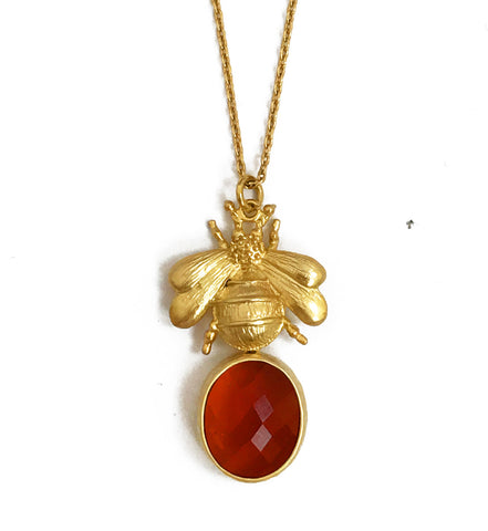 The 'Queen Bee' & Glass Pendant Necklace - Orange