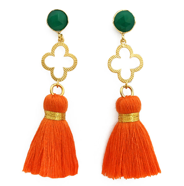 The 'Good Luck Clover' with Tassel Earrings - Green/Orange