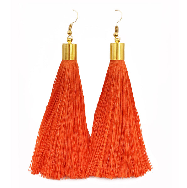 Long Silk Tassel Earrings - Orange