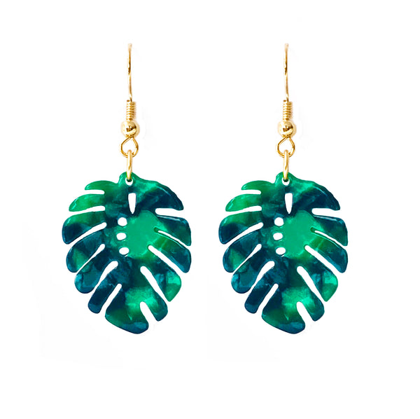 Palm Leaf Lucite Hook Earrings