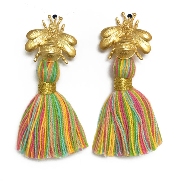 The 'Queen Bee' Tassel Earrings - Multi-Colour Pastel