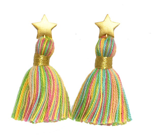 Gold Star & Pastel Multi-Colour Tassel Earrings