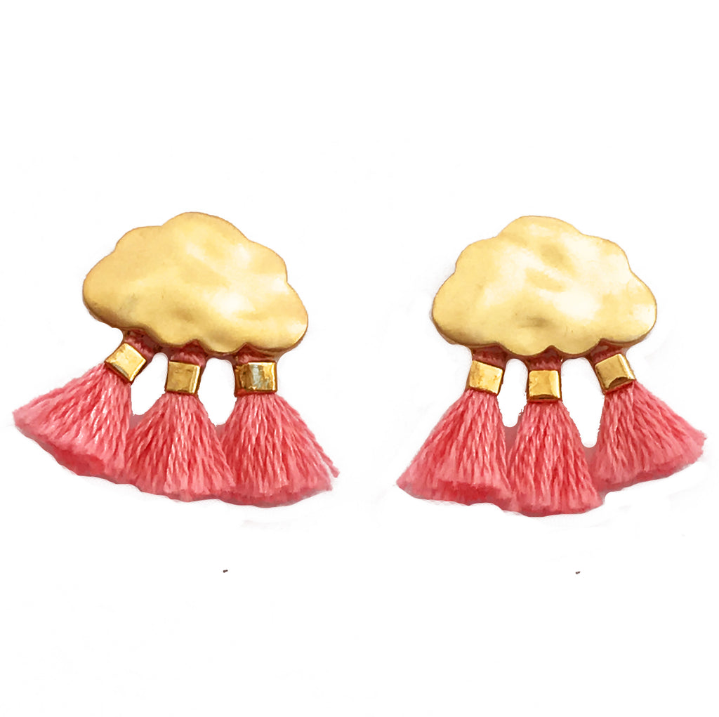 'Every Cloud Has A Tassel Lining' Earrings - Light Pink