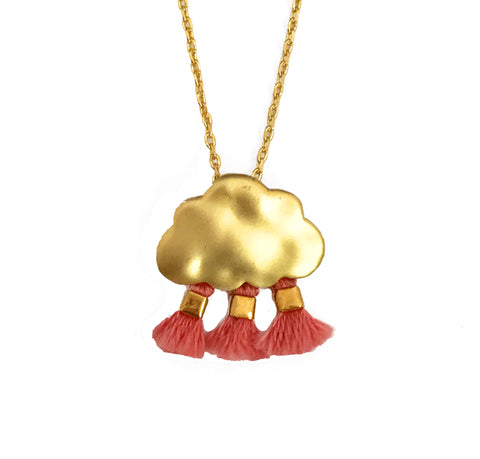 'Every Cloud Has A Tassel Lining' Necklace - Pink
