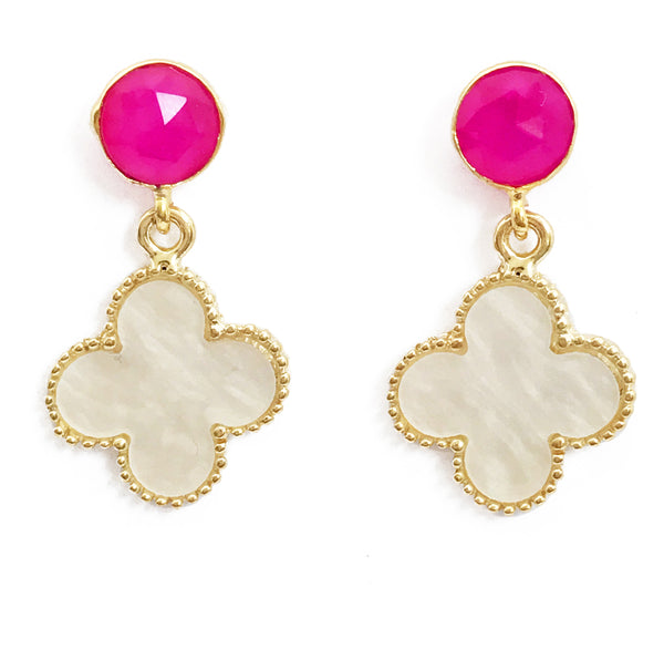 The 'Good Luck Clover' Earrings - Bright Pink Posts