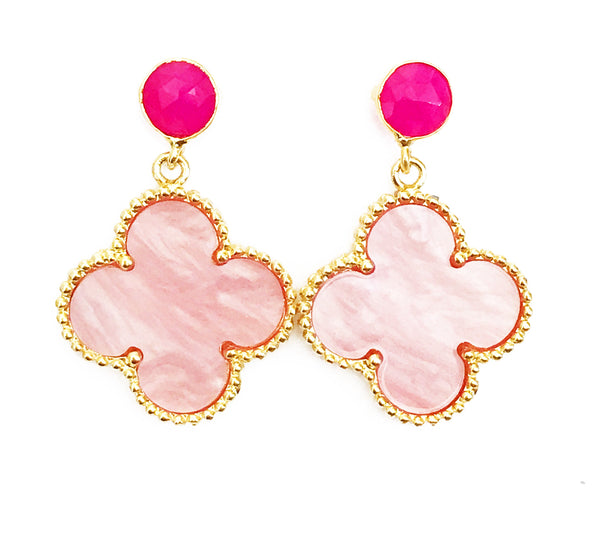 The Pink 'Good Luck Clover' Earrings - Pink Posts
