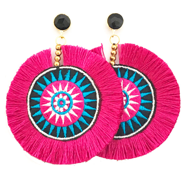 Fan Disc Tassel Earrings - Pink / Black Stone
