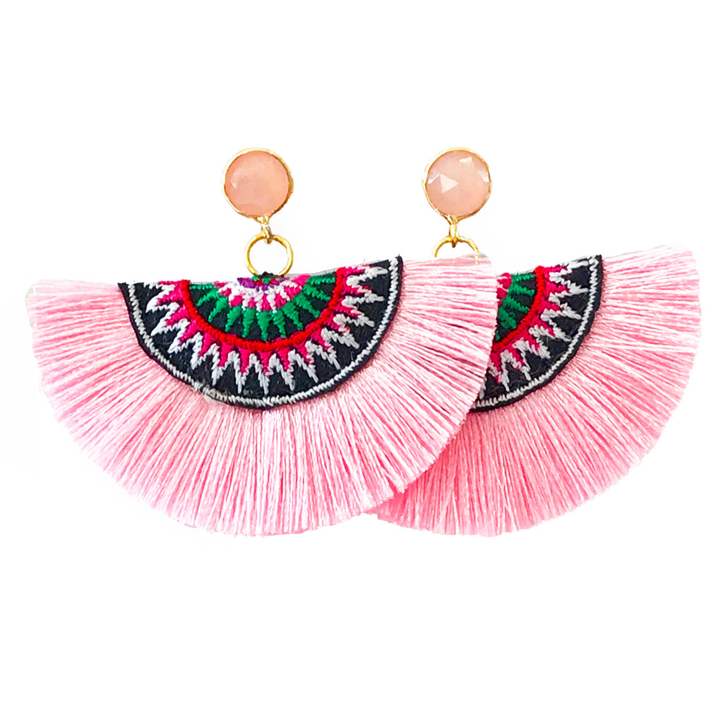 Fan Tassel Earrings - Light Pink/Pink Stone