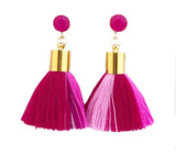 Short Tassel Earrings - Multi Pink