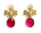 Gold Bee & Pendant Earrings - Bright Pink