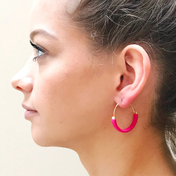 Bright Pink Cotton Wrapped Hoops