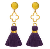 The 'Good Luck Clover' with Tassel Earrings - Yellow/Purple
