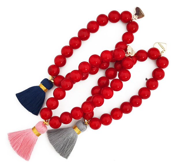 Red Jade Bracelet - Choose a Tassel Colour