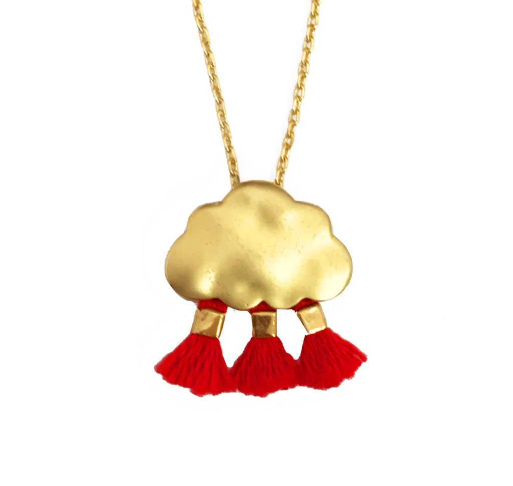 'Every Cloud Has A Tassel Lining' Necklace - Red
